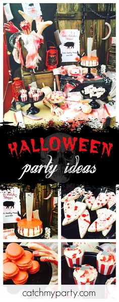 Check out this Vintage Butcher Shoppe Halloween birthday party! The cupcakes are so creepy!! See more party ideas and share yours at CatchMyParty.com #halloween #butcher
