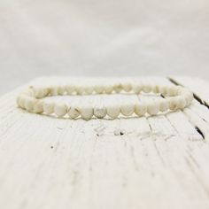 White Turquoise Beaded Bracelet with Sterling Silver Stardust Bead
