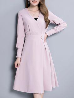 Fashionmia - Fashionmia V-Neck Plain Midi Skater Dress In Pink - AdoreWe.com Midi Skater Dress, Stylish Work Outfits, Smart Dress, Fashion Brand, Fashion Design, Church Outfits, Korea Fashion, Business Outfits, Dream Dress