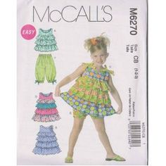 McCall's Patterns M6270 Toddlers'/Children's Tops, Dresses, Shorts and Capri Pants  by McCall's Patterns