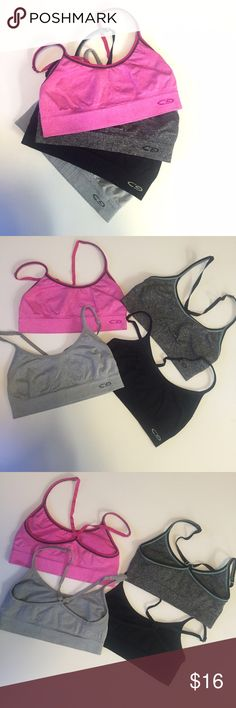 4 XS Champion sport compression bras Bundle of 4 Champion compression sport bras in size XS. Listing contains one solid black, one gray, one dark grey with black trim, and one pink. All are in good used condition. Selling as they no longer fit. Champion Intimates & Sleepwear Bras