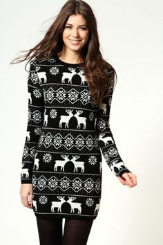 Dotty reindeer print knitted long sleeve body con sweater