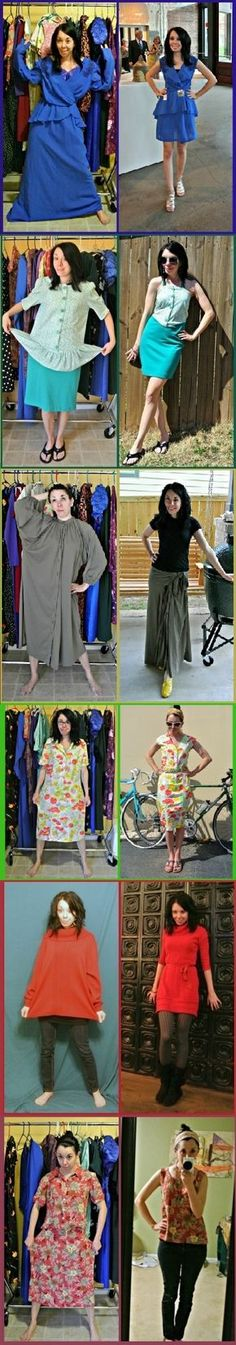 I love this site! This woman buys clothes from thrift stores and transforms them into cute stuff!