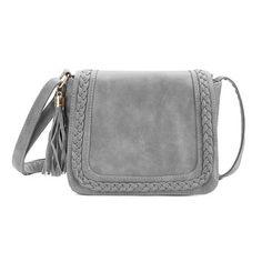 Grey Tassel Embellished Shoulder Bag with Magnetic Closure - US$23.95 -YOINS