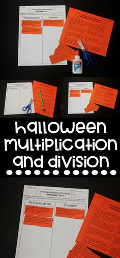 Halloween Multiplication and Division Word Problem Sort! Perfect for October math centers or homework!