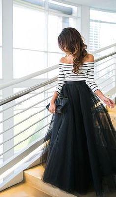 Off The Shoulder Stripe Top And Black Skirt