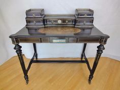 Antique Victorian French Style Ebonised Inlaid Writing Desk with Ceramic Plaques