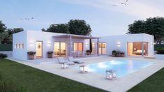 Small House Design, Dream Home Design, Home Design Plans, Modern House Design, L Shaped House Plans, Pool House Plans, Small Villa, Modern Bungalow House, Casas Containers