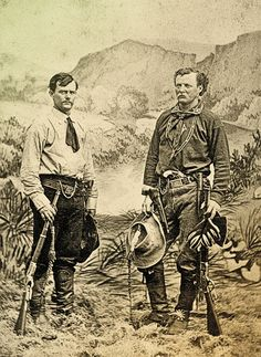 Jack Stilwell (at right) stands with James N. Jones, a fellow scout at Fort Sill in Indian Territory around 1874. The region was engrossed in the Red River War that would see Quanah Parker and his Comanche followers surrender at Fort Sill the following summer.  – Courtesy Robert G. McCubbin Collection –