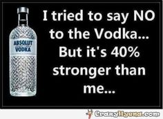 Amusing photo of Absolut Vodka showing how much stronger it is than a normal person. It's whole 40%, which is a lot