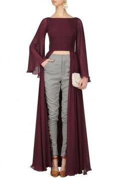 Deepankshi and Reena Oxblood Crop Top and Grey Tweed Trousers Set Fashion Mode, Hijab Fashion, Fashion Dresses, Western Dresses, Indian Dresses, Indian Designer Outfits, Designer Dresses, Mode Kimono, Sleeves Designs For Dresses