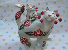"""Amelie"" one-of-a-kind handmade  blue floral WhimsiClay cat and kitten, so cute!"