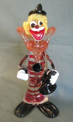 Vintage Murano Glass Clown Holding a Saxophone