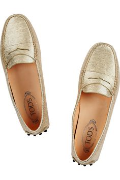 fa9386e4302 Tod s - Gommino metallic textured-leather loafers