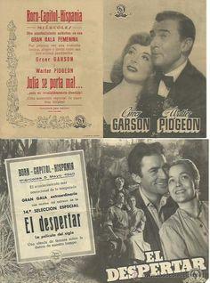 6 Folletos de mano de cine de los años 40 y 50, tamaño doble.