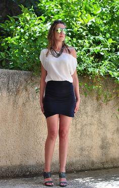 Twisted hem skirt Asymmetrical Draped Miniskirt by NikiZaimi, $60.00