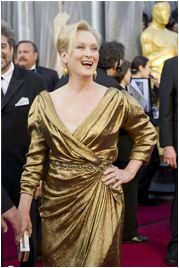 """Iron Lady at the Oscars.  She took the """"Green Carpet Challenge"""" and dressed in eco gold lame!    PS She won AGAIN!!!!"""