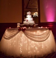 wedding decorations wedding head table cake table http://www.bliss-bridal-weddings.com/#!product/prd3/3428608395/tulle-packge-1500-feet