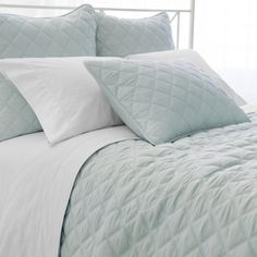 Quilted Silken Solid Coverlet by Pine Cone Hill Robins Egg Blue - PC900-FQ