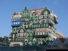 Some special piece of architecture! Traditional Dutch houses all 'stacked' together to become Inntel Hotel Zaandam.