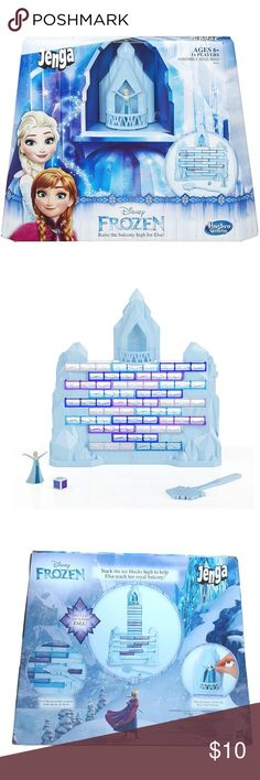 JENGA Disney FROZEN Edition Game Elsa Castle New Disney Frozen Edition game, players take turns building up Elsa's ice palace.  Combining classic Jenga gameplay with a cool Disney Frozen twist,  players carefully remove blocks from the ice wall with the snowflake wand.  Classic Jenga play with a cool Disney Frozen twist Includes Elsa figure Kids can play solo or in a group Players build Elsa's castle Includes:  Ice palace frame, ice palace balcony, 23 Jenga ice blocks,  Elsa figure…