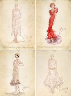 The Great Gatsby - Designer Catherine Martin's costume sketches for Gatsby's leading ladies: Carey Mulligan (Daisy Buchanan), Isla Fisher (Myrtle Wilson) and Elizabeth Debicki (Jordan Baker). Great Gatsby Fashion, Great Gatsby Party, The Great Gatsby, Costume Design Sketch, Best Costume Design, Theatre Costumes, Movie Costumes, Fashion History, Fashion Art