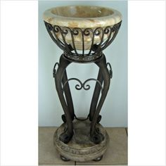 Olde World Flourish Pedestal Sink Stand In Distressed Iron