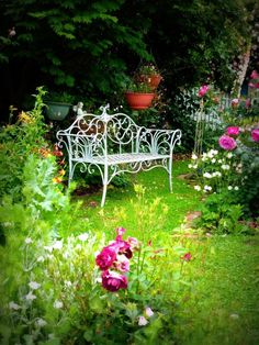love the romantic feel of the flowers and bench    Lovely Garden bench from The Cottage Garden.