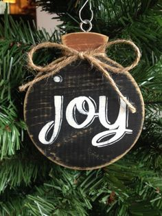 Joy Chalkboard Hand Painted Holiday Wood by CelebrateOrnaments. Christmas Ornaments To Make, Wood Ornaments, Christmas Signs, Rustic Christmas, Christmas Projects, Winter Christmas, Holiday Crafts, Christmas Decorations, 242