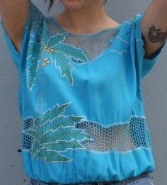green palm trees + blue [Bali cutwork shirt]