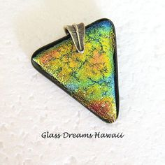 Triangle Fused Glass Pendant Dichroic Glass by GlassDreamsHawaii