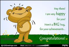 Congratulate someone with this e-card. Free online Big Hugs For The Achievements ecards on Congratulations Congratulations Messages For Achievement, Congratulations Images, Congratulations Graduate, Funny Billboards, Graduation Quotes Funny, 123 Greetings, Break Up Quotes, Music Sing, Online Greeting Cards