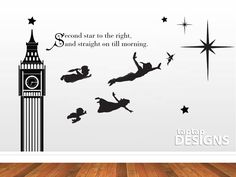 Peter Pan Wall Mural Second Star to the Right by taptapdesigns, £29.99