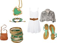 A summer walk in jade!, created by abby03 on Polyvore