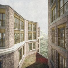 Housing for older residents, Hampstead, Londo, UK, 2017 Brick Architecture, Architecture Collage, Architecture Images, Architecture Visualization, Villas, Building Drawing, Brick Facade, Layout, Urban Design