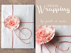 wrapping with paper flower baking cups Diy Ribbon Flowers, How To Wrap Flowers, Flower Diy, Arts And Crafts, Paper Crafts, Diy Crafts, Cupcake Liner Flowers, How To Make Decorations, Pretty Packaging