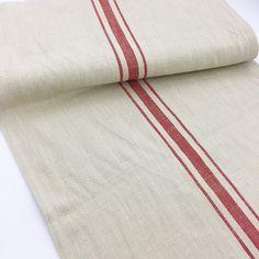 Red Striped Tan Linen Table Runner Fine Luxury European Linens French Farmhouse Decor - Hallstrom Home