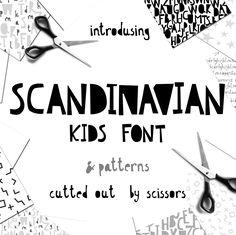 Scandinavian kids font stylish and laconic as scandinavian monochrome design. Each letter was cutted out of paper by scissors now it's turned into a font. The Scandinavian kids font will be perfect for headlines, titles, packaging, quote art, products, or other DIY projects, inspirational quotes and typography. Scandinavian kids font font is for personal and commercial use which means you can use them for logos, branding for clients, childish t-shirt, nursery art, mug or stationary.