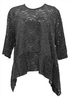 AKH Fashion Lagenlook festliches Oversize Shirt aus Spitze in schwarz XXL Mode bei www.modeolymp.lafeo.de