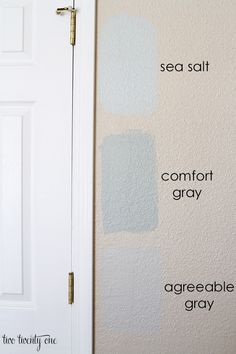Bedroom Paint Samples sherwin williams sea salt (a little aqua ?)sherwin williams sea salt (a little aqua ? Grey Interior Paint, Interior Paint Colors For Living Room, Bedroom Paint Colors, Paint Colors For Home, Living Room Paint, House Colors, Living Rooms, Interior Painting, Boy Rooms