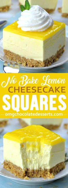Easy No Bake Lemon Cheesecake Bars with graham cracker crust and lemon curd topping is light and refreshing spring or summer dessert recipe, and perfect addition to Easter table. Desserts No Bake Lemon Cheesecake Bars Lemon Cheesecake Recipes, Lemon Desserts, Lemon Recipes, Healthy Cheesecake, Cheesecake Bites, Lemon Curd Dessert, Summer Cheesecake, Simple Cheesecake Recipe, Non Bake Cheesecake