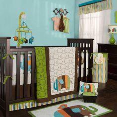 zutano elephants nursery set. I love the bright colors.