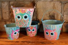 Owl Bucket, Pink Metal Pail, Easter Pail with Owl Art