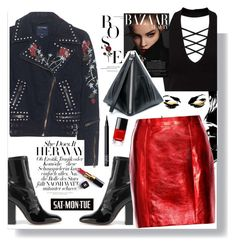 """Red Roses"" by fashionfreakforlife ❤ liked on Polyvore featuring Miss Selfridge, Valentino, True Religion, Yves Saint Laurent, McQ by Alexander McQueen, Chanel, NARS Cosmetics, fashionista, saintlaurent and polyvoreeditorial"