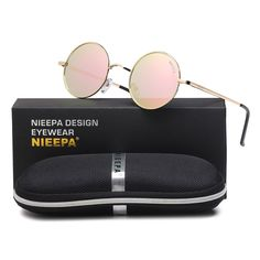 567e0297ee2 NIEEPA John Lennon Vintage Round Polarized Hippie Sunglasses Small Circle  Sun Glasses Pink Lens Rose Gold Frame     For more information