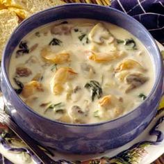 Spinach Soup Shrimp and Spinach Soup - Make again? Very good and quick. - A dash of nutmeg brings out the best in the shrimp and emphasizes the slightly sweet, nutty taste of Gruyere cheese. Seafood Stew, Seafood Dishes, Fish And Seafood, Seafood Recipes, Soup Recipes, Cooking Recipes, Healthy Recipes, Healthy Foods, Recipies