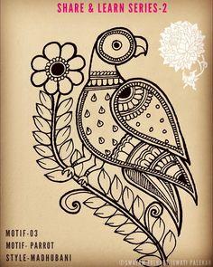 Madhubani Paintings Peacock, Madhubani Art, Indian Paintings, Arte Mehndi, Zentangle Drawings, Mandala Drawing, Wall Painting Decor, Folk Art Flowers, Art Drawings For Kids