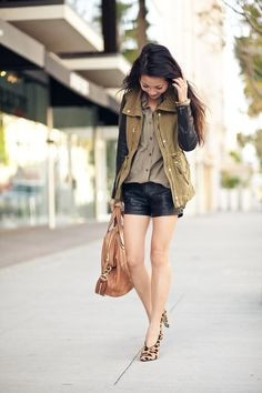 I love olive and black leather together. And I've been wanting to find some leopard flats or pumps!