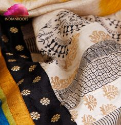 Handwoven Tussar silk saree with patchwork by Weavers Studio at Indianroots.com