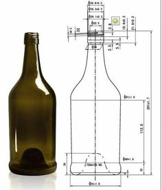 750ml wine bottle Mechanical Engineering Design, Mechanical Design, Technical Illustration, Technical Drawing, Wine Bottle Dimensions, Isometric Sketch, Isometric Drawing Exercises, Bottle Drawing, Interesting Drawings